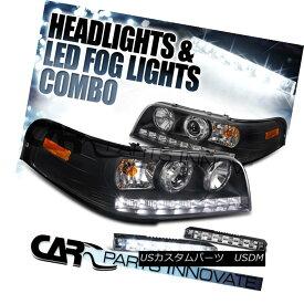 ヘッドライト 98-11 Ford Crown Victoria Black SMD LED DRL Projector Headlights+6-LED Fog DRL 98-11フォードクラウンビクトリアブラックSMD LED DRLプロジェクターヘッドライト+ 6-L ED Fog DRL
