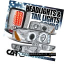 ヘッドライト 01-06 Yukon Denali Chrome Halo LED Projector Head Bumper Lights+LED Tail ...