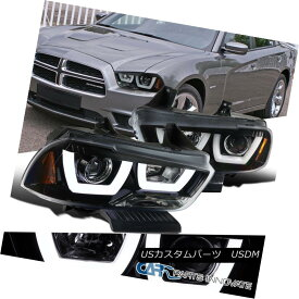 ヘッドライト 11-14 Dodge Charger Pearl Black Iced LED Halo Clear Lens Projector Headlights 11-14ダッジチャージャーパールブラックアイスLEDハロークリアレンズプロジェクターヘッドライト