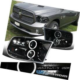 ヘッドライト Dodge 09-17 Ram 1500 2500 3500 Pearl Black Halo LED Clear Projector Headlights ドッジ09-17ラム1500 2500 3500パールブラックハローLEDクリアプロジェクターヘッドライト