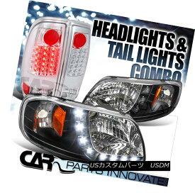 ヘッドライト 97-03 F-150 Styleside SMD Strip DRL Black Headlights+Chrome LED Tail Lamp 97-03 F-150スタイリッシュSMDストリップDRLブラックヘッドライト+ Chr ome LEDテールランプ