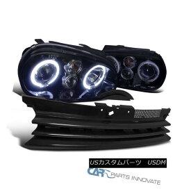 ヘッドライト For 99-06 VW Golf GTI R32 Mk4 Glossy Black Halo Projector Headlights+Hood Grille 99-06 VWゴルフ用GTI R32 Mk4光沢ブラックハロープロジェクターヘッドライト+ Hoo d Grille
