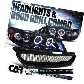 ヘッドライト Fit 1998-2002 Accord 2Dr Glossy Black Projector Headlights+Mesh Hood Grille Fit 1998-2002 Accord 2Dr Glossyブラックプロジェクターヘッドライト+メス hフードグリル
