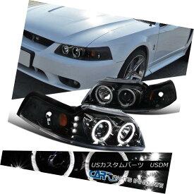 ヘッドライト Ford 99-04 Mustang Pearl Black Dual Halo LED Clear Projector Headlights Lamps フォード99-04ムスタングパールブラックデュアルハローLEDクリアプロジェクターヘッドライトランプ
