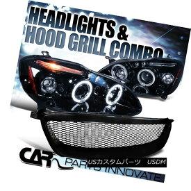 ヘッドライト Glossy Black For 03-08 Corolla Smoke LED Projector Headlights+Mesh Hood Grille 光沢ブラック03-08カローラ煙LEDプロジェクターヘッドライト+メス hフードグリル