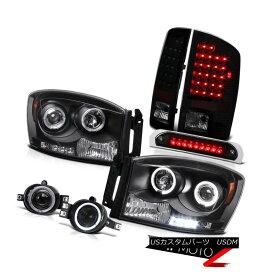 ヘッドライト 2007-2008 Ram V8 Dual Halo Headlight Smoke Brake Lamp Chrome Fog Third Cargo 2007-2008 Ram V8デュアルヘイローヘッドライトスモークブレーキランプクロムフォグサードカーゴ