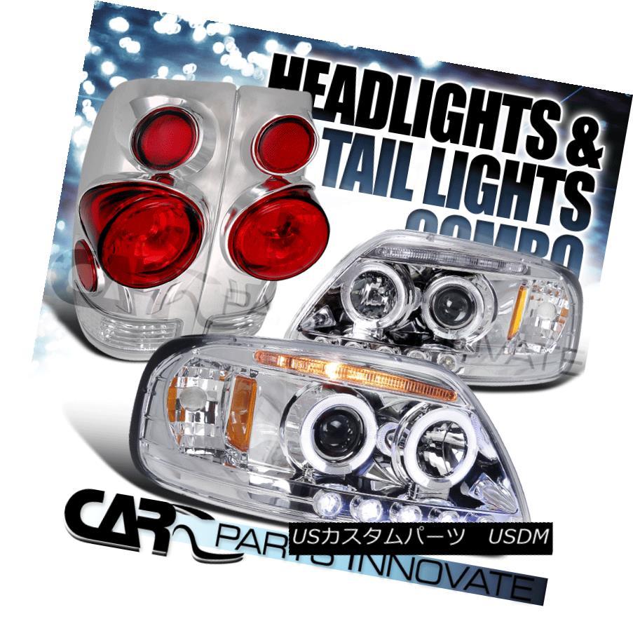 テールライト 97-03 Ford F150 Chrome Halo LED Projector Headlights+3D Altezza Tail Lamps 97-03 Ford F150 Chrome Halo LEDプロジェクターヘッドライト+ 3D Altezzaテールランプ