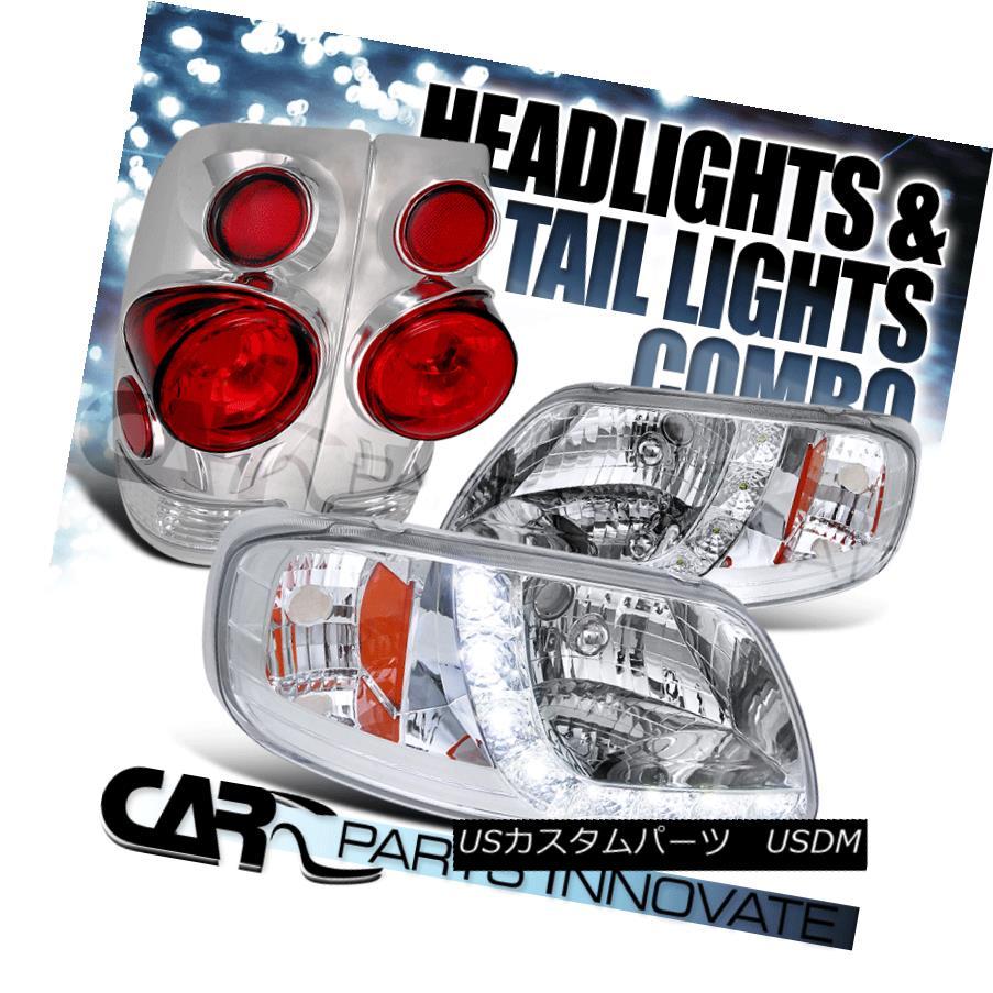 テールライト 97-03 Ford F150 Chrome SMD LED DRL Headlights+3D Altezza Rear Tail Lamps 97-03フォードF150クロムSMD LED DRLヘッドライト+ 3D Altezzaリアテールランプ
