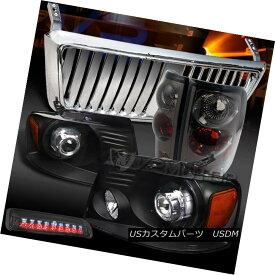 テールライト 04-08 F150 Black Projector Headlights+Chrome Front Grille+Tint Tail LED 3rd Lamp 04-08 F150ブラックプロジェクターヘッドライト+ Chr omeフロントグリル+ティントテールLED第3ランプ