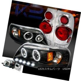 テールライト 97-03 F150 Black Dual Halo LED Projector Headlights+Chrome 3D Tail Brake Lamps 97-03 F150ブラックデュアルHalo LEDプロジェクターヘッドライト+ Chr ome 3Dテールブレーキランプ
