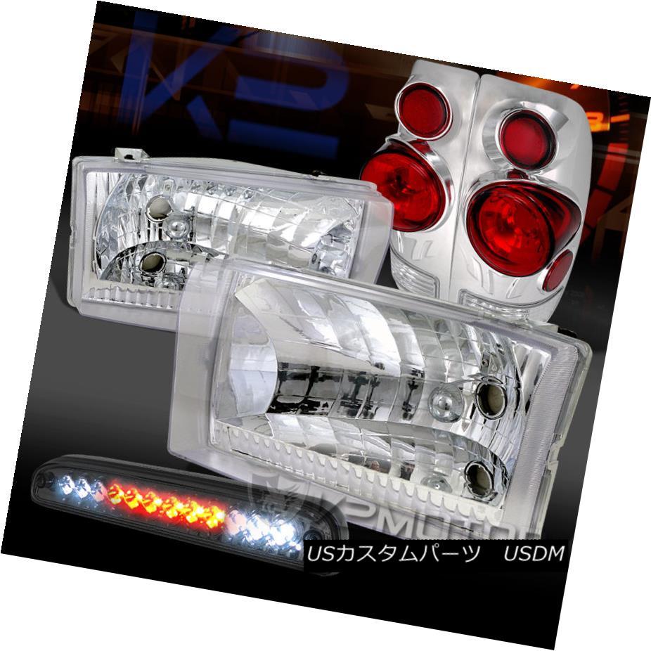 テールライト 99-04 Ford F250/350/450 Chrome Headlights+3D Tail Lamps+Smoke LED 3rd Brake 99-04 Ford F250 / 350/450クロームヘッドライト+ 3Dテールランプ+ Smoke LED 3rdブレーキ
