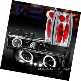 テールライト 88-98 Chevy C/K Pickup Black Halo LED Projector Headlights+Chrome Tail Lamps 88-98 Chevy C / KピックアップブラックハローLEDプロジェクターヘッドライト+ Chr omeテールランプ