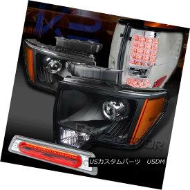 テールライト 09-14 F150 Black Projector Headlights+Chrome LED Tail Lamps+Clear LED 3rd Brake 09-14 F150ブラックプロジェクターヘッドライト+ Chr ome LEDテールランプ+ Clear LED 3rdブレーキ