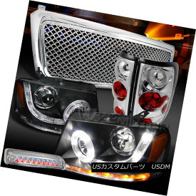 テールライト 04-08 F150 Black SMD DRL Headlights+Chrome Grille+Tail LED 3rd Brake Lamps 04-08 F150ブラックSMD DRLヘッドライト+ Chr oemグリル+テールLED第3ブレーキランプ