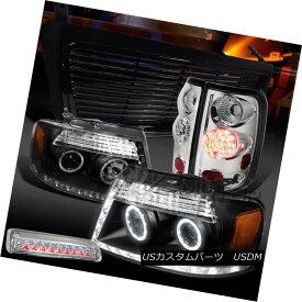 テールライト 04-08 F150 Black LED DRL Projector Headlights+Chrome LED Tail 3rd Brake+Grille 04-08 F150ブラックLED DRLプロジェクターヘッドライト+ Chr ome LEDテール3rdブレーキ+グリル