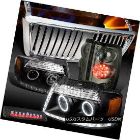 テールライト 04-08 F150 Black LED Headlights+Chrome Front Grille+Tint LED Tail 3rd Stop Lamps 04-08 F150ブラックLEDヘッドライト+ Chr omeフロントグリル+ティントLEDテール第3ストップランプ