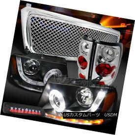 テールライト 04-08 F150 Black SMD DRL Headlights+Chrome Grille+Tail Lamps+Tint LED 3rd Brake 04-08 F150ブラックSMD DRLヘッドライト+ Chr oemグリル+テールランプ+ティントLED第3ブレーキ