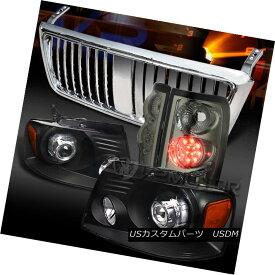 テールライト 04-08 F150 Black Projector Headlights+Chrome Grille+Smoke LED Tail Lamps 04-08 F150ブラックプロジェクターヘッドライト+ Chr oemグリル+スモークLEDテールランプ