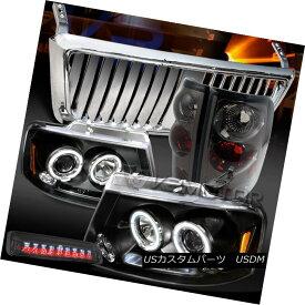 テールライト 04-08 F150 Black Halo DRL Headlights+Chrome Front Grille+Tint Tail LED 3rd Lamps 04-08 F150 Black Halo DRLヘッドライト+ Chr omeフロントグリル+ TintテールLED第3ランプ