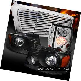 テールライト 04-08 F150 Black Projector Headlights+Chrome LED Tail Lamps+Billet Grille 04-08 F150ブラックプロジェクターヘッドライト+ Chr ome LEDテールランプ+ビレットグリル