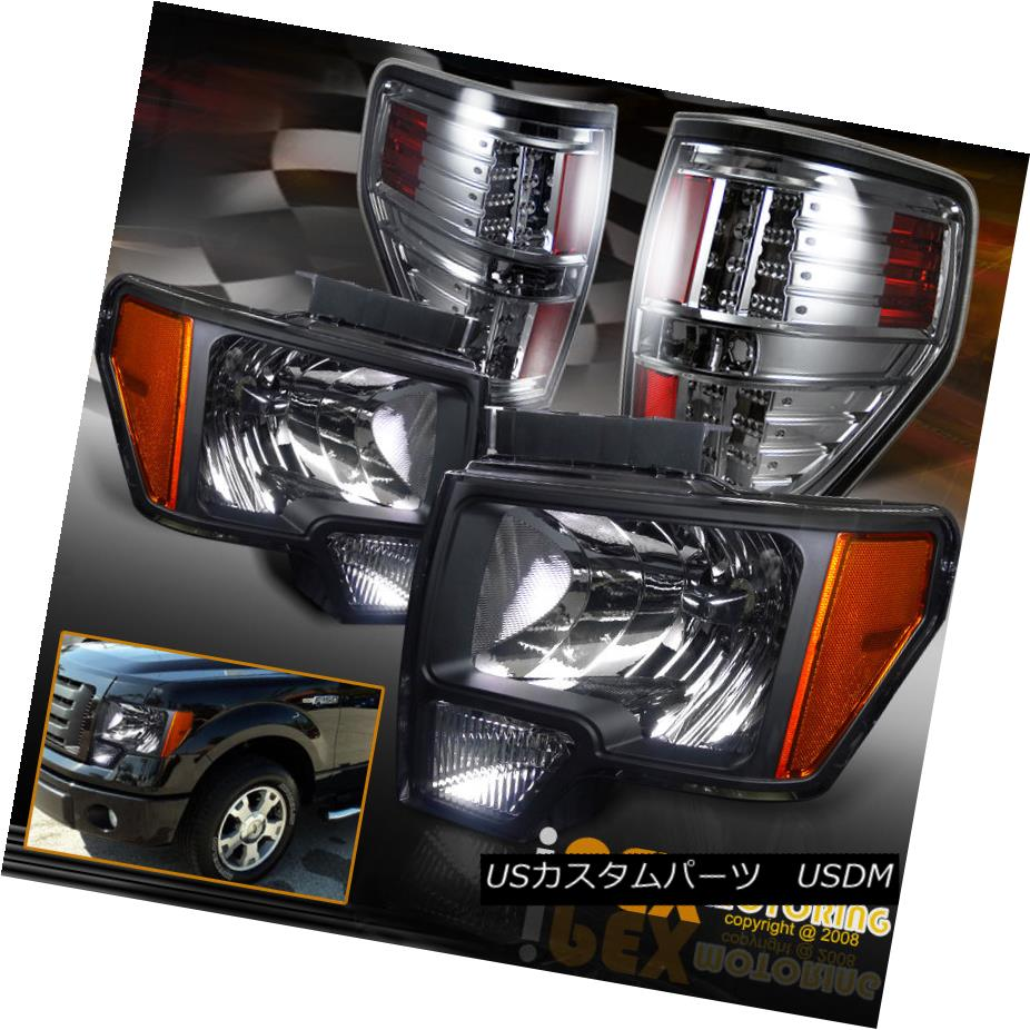 """テールライト 2009-2014 Ford F150 SVT FX4 STX Black Headlights + """"Soft-Smoke"""" LED Tail Lights 2009-2014フォードF150 SVT FX4 STXブラックヘッドライト+「ソフトスモーク」LEDテールライト"""