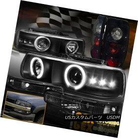 テールライト 1999-2002 Chevy Silverado Halo Projector LED Headlights + Pearl Black Tail Light 1999-2002シボレーシルバラードハロープロジェクターLEDヘッドライト+パールブラックテールライト