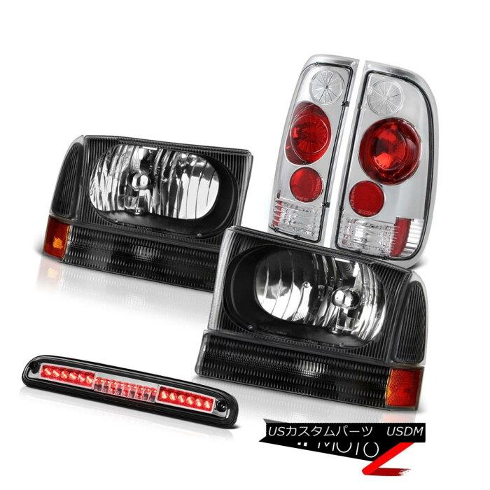 テールライトPairBlackHeadlampsRearTailLightChrome3rdBrakeLED1999-2004F250XLTペアブラックヘッドランプリアテールライトクローム第3ブレーキLED1999-2004F250XLT