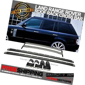 エアロパーツ Fits 02-12 Range Rover HSE OE Factory Black Aluminum Roof Rails & Cross Bars Set 02-12レンジローバーに適合HSE OE工場ブラックアルミ屋根レール& クロスバーセット