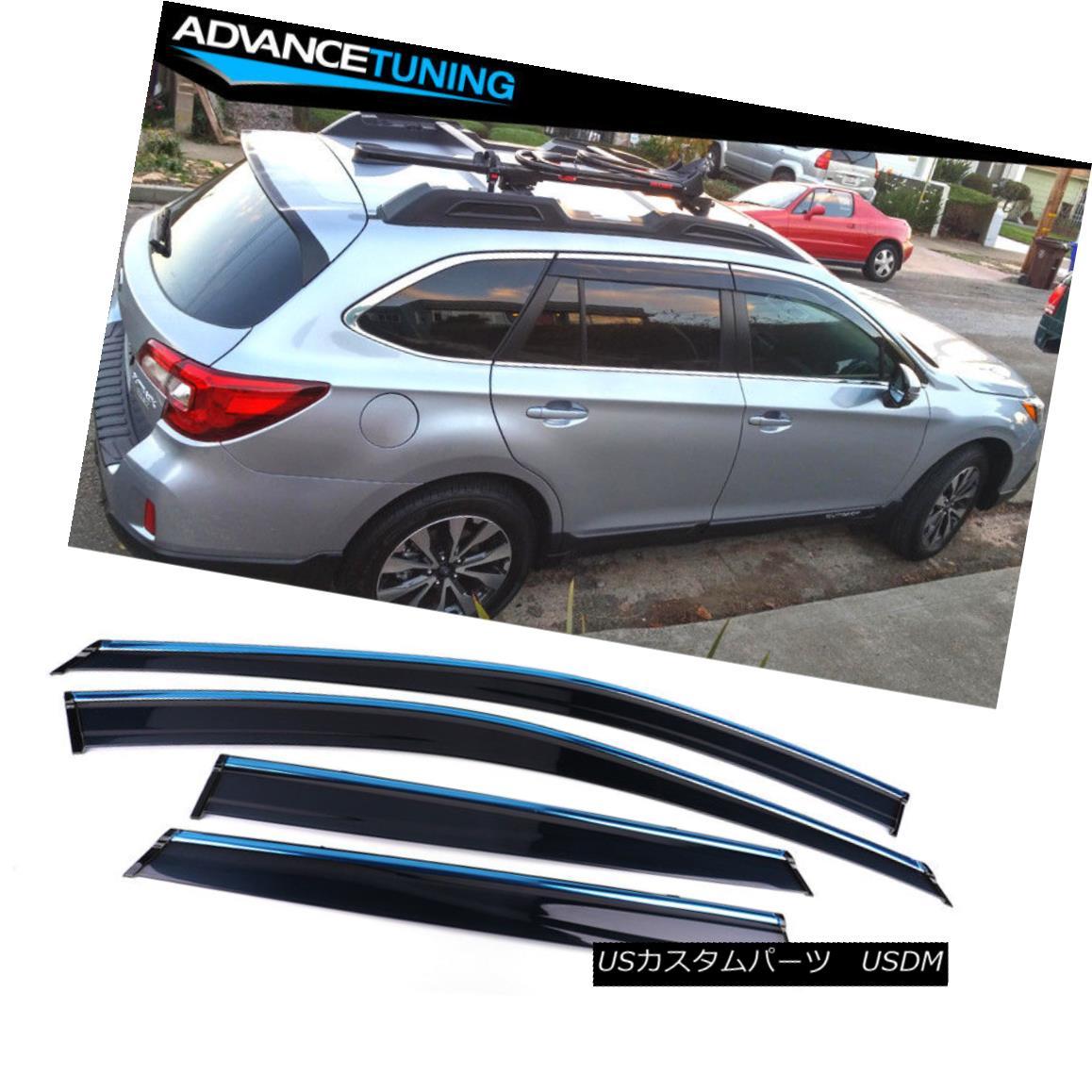 エアロパーツ Fits 15-18 Subaru Outback Polycarbonate Window Visors w/ Chrome Trim 4Pc クロムトリム4Pc付き15-18スバルアウトバックポリカーボネート窓バイザー