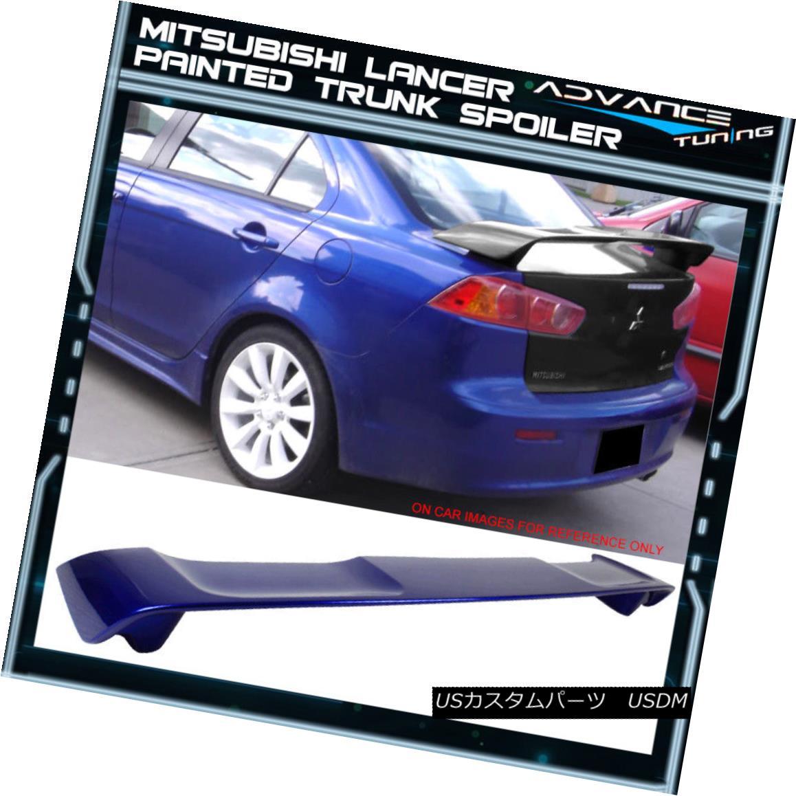 エアロパーツ 08-17 Mitsubishi Lancer Trunk Spoiler OEM Painted Color #T70 Electric Blue Pearl 08-17三菱ランサートランクスポイラーOEM塗装カラー#T70エレクトリックブルーパール