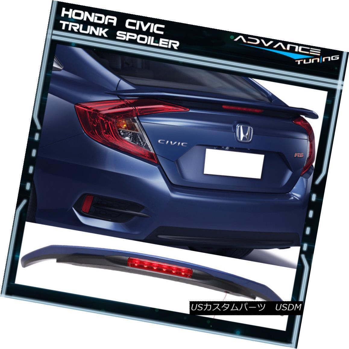エアロパーツ 16-18 Honda Civic LED Brake RS Trunk Spoiler Painted #B593M Aegean Blue Metallic 16-18ホンダシビックLEDブレーキRSトランク・スポイラー#B593M Aegean Blue Metallic