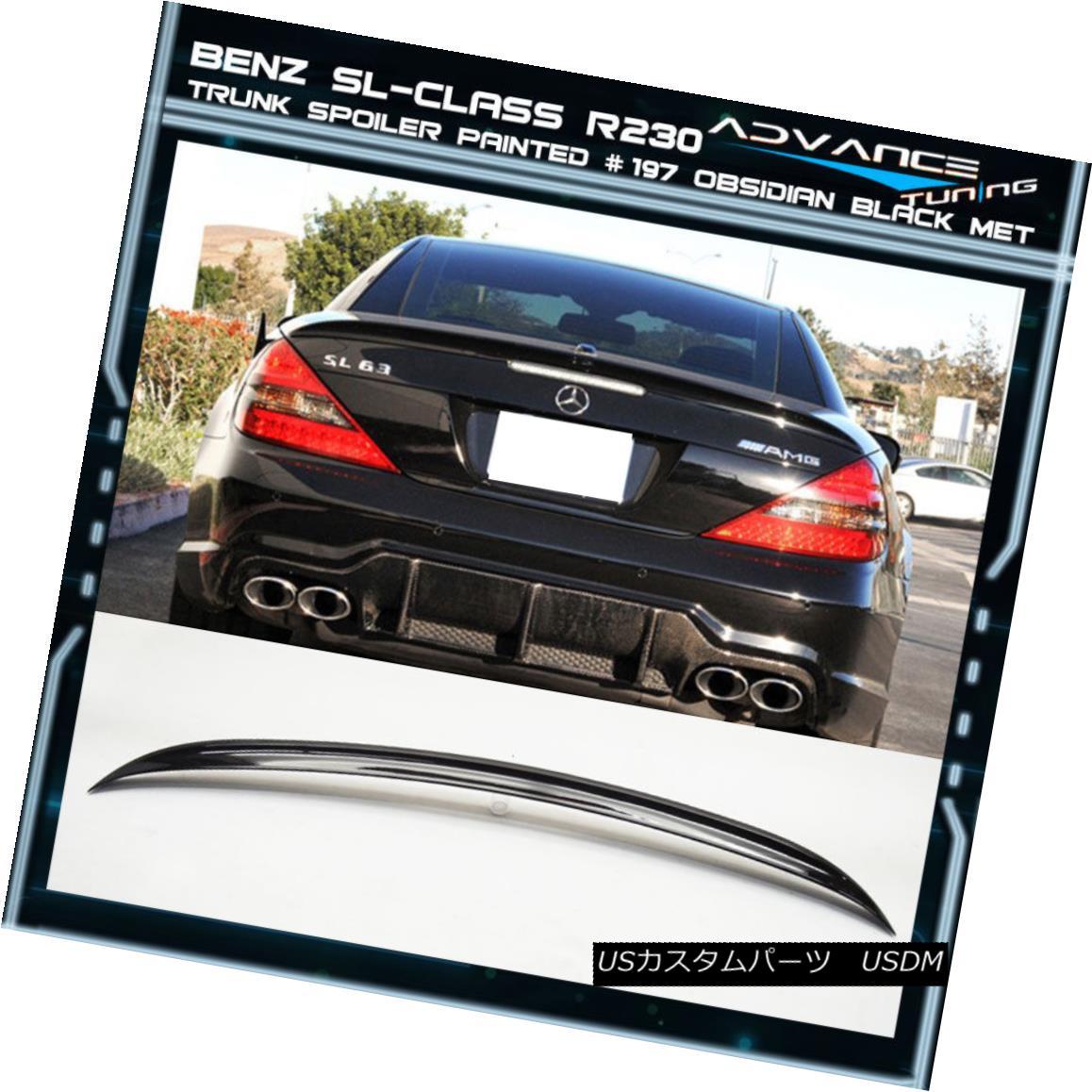 エアロパーツ 03-11 Benz SL R230 Trunk Spoiler OEM Painted Color # 197 Obsidian Black Met 03-11ベンツSL R230トランク・スポイラーOEM塗装カラー#197 Obsidian Black Met