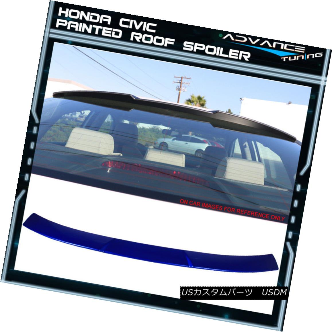エアロパーツ 16-18 Honda Civic Sedan Roof Spoiler OEM Painted #B593M New Sporty Blue Metallic 16-18ホンダシビックセダンルーフスポイラーOEM塗装#B593Mニュースポーティーブルーメタリック