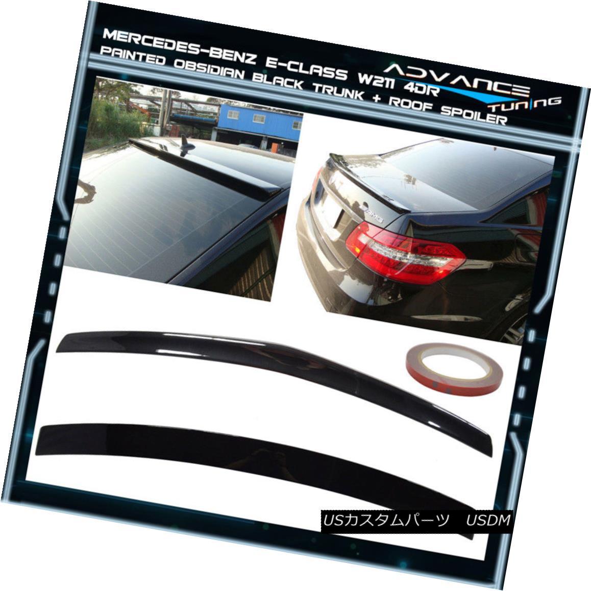 エアロパーツ 10-16 BENZ W212 4Dr Trunk + Roof Spoiler OEM Painted Color # 197 Obsidian Black 10-16ベンツW212 4Drトランク+ルーフスポイラーOEM塗装カラー#197黒曜石