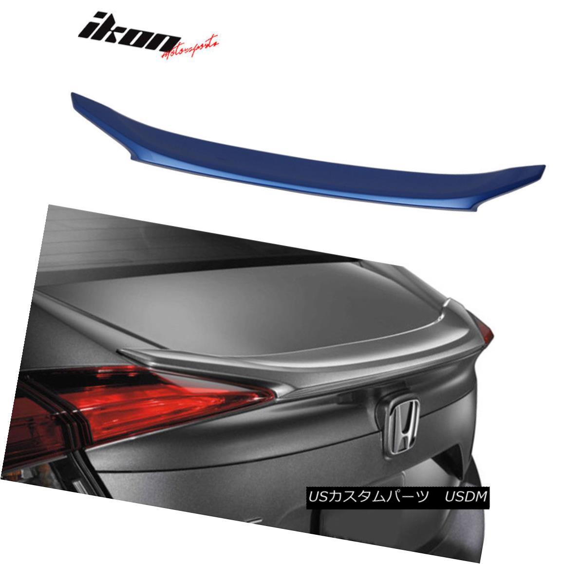 エアロパーツ 16-18 Honda Civic X Sedan OE Trunk Spoiler Painted Aegean Blue Metallic # B593M 16-18ホンダシビックXセダンOEトランク・スポイラーペイントエーゲー・ブルー・メタリック#B593M
