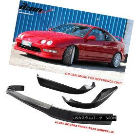 エアロパーツ Black Poly Urethane OP Style Front & Rear Bumper Lip Fits 98-01 Acura Integra ブラックポリウレタンOPスタイルフロント& リアバンパーリップフィッティング98-01 Acura Integra