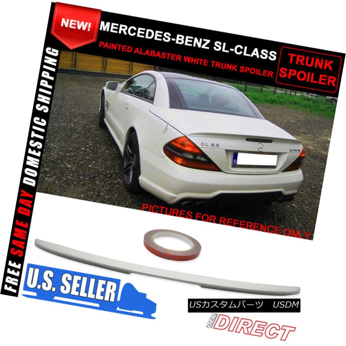 エアロパーツ 03-11 Benz SL Class R230 AMG Style Trunk ABS Spoiler Paint Alabaster White #960 03-11ベンツSLクラスR230 AMGスタイルトランクABSスポイラーペイントアラバスターホワイト#960