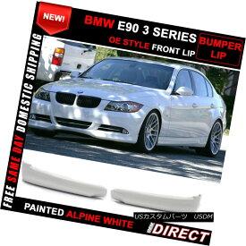 エアロパーツ 06-08 BMW 3 Series E90 Front Splitter Lip OE Style Alpine White Painted 06-08 BMW 3シリーズE90フロントスプリッターリップOEスタイルアルパインホワイト塗装済