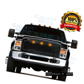 グリル 08-10 Ford Super Duty Raptor Gloss Black Front Hood Mesh Grille+Shell+Amber LED 08-10フォードスーパーデューティラプトルグロスブラックフロントフードメッシュグリル+シェル+ mber LED