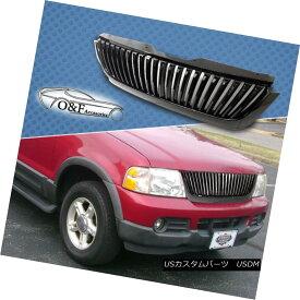 グリル 02-05 Ford Explorer Gloss Black ABS X-Vertical Front Hood Grille Replacement 02-05フォードエクスプローラグロスブラックABS X垂直フロントフードグリル交換