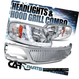 グリル Ford 99-03 F150 99-02 Expedition Clear SMD LED DRL Headlights+Chrome ABS Grille フォード99-03 F150 99-02遠征クリアSMD LED DRLヘッドライト+ Chr ome ABS Grille
