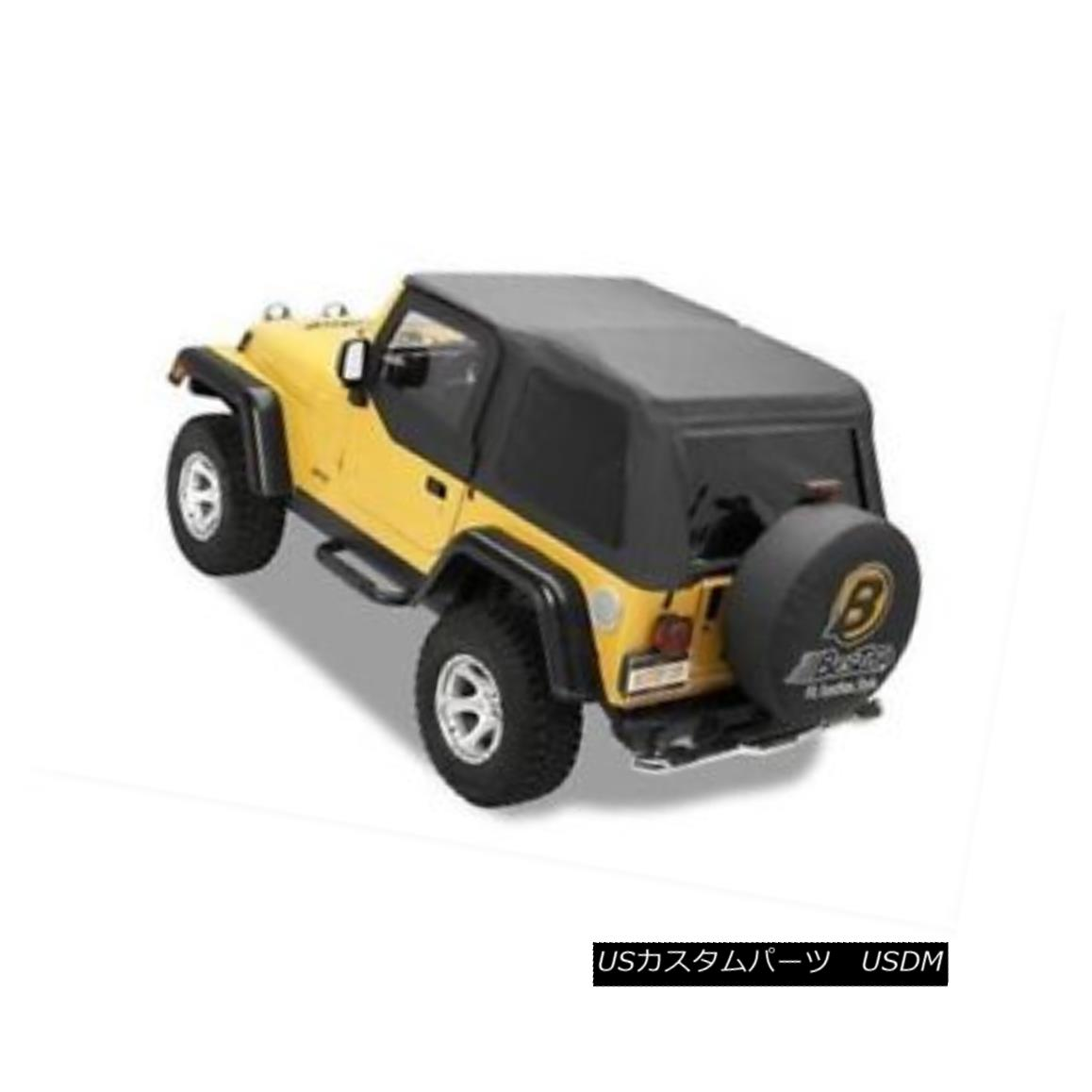 幌・ソフトトップ Bestop 56820-15 Soft Top Polymer Cloth Black Denim Tinted Windows for Jeep 2DR Bestop 56820-15ソフトトップポリマー布ジーンズ2DR用ブラックデニムティンテッドウィンドウ