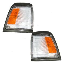 コーナーライト New Pair Set Park Clearance Light Lamp Grey Trim for 92-95 Toyota Pickup 2WD 新しいペアセットパーククリアライトランプグレートリム92-95トヨタピックアップ2WD用
