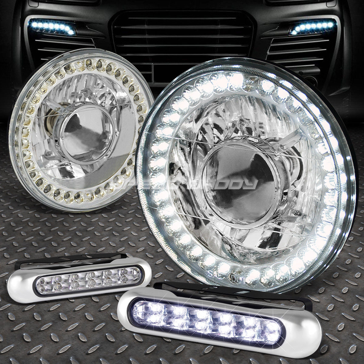 USフォグライト 7x7 ROUND CHROME PROJECTOR LED HEADLIGHT+12 LED GRILL FOG LIGHT FOR BRONCO/DART 7x7 ROUND CHROME PROJECTOR LEDヘッドライト+ブロンコ/ダーツ用LEDグリルフォグライト12