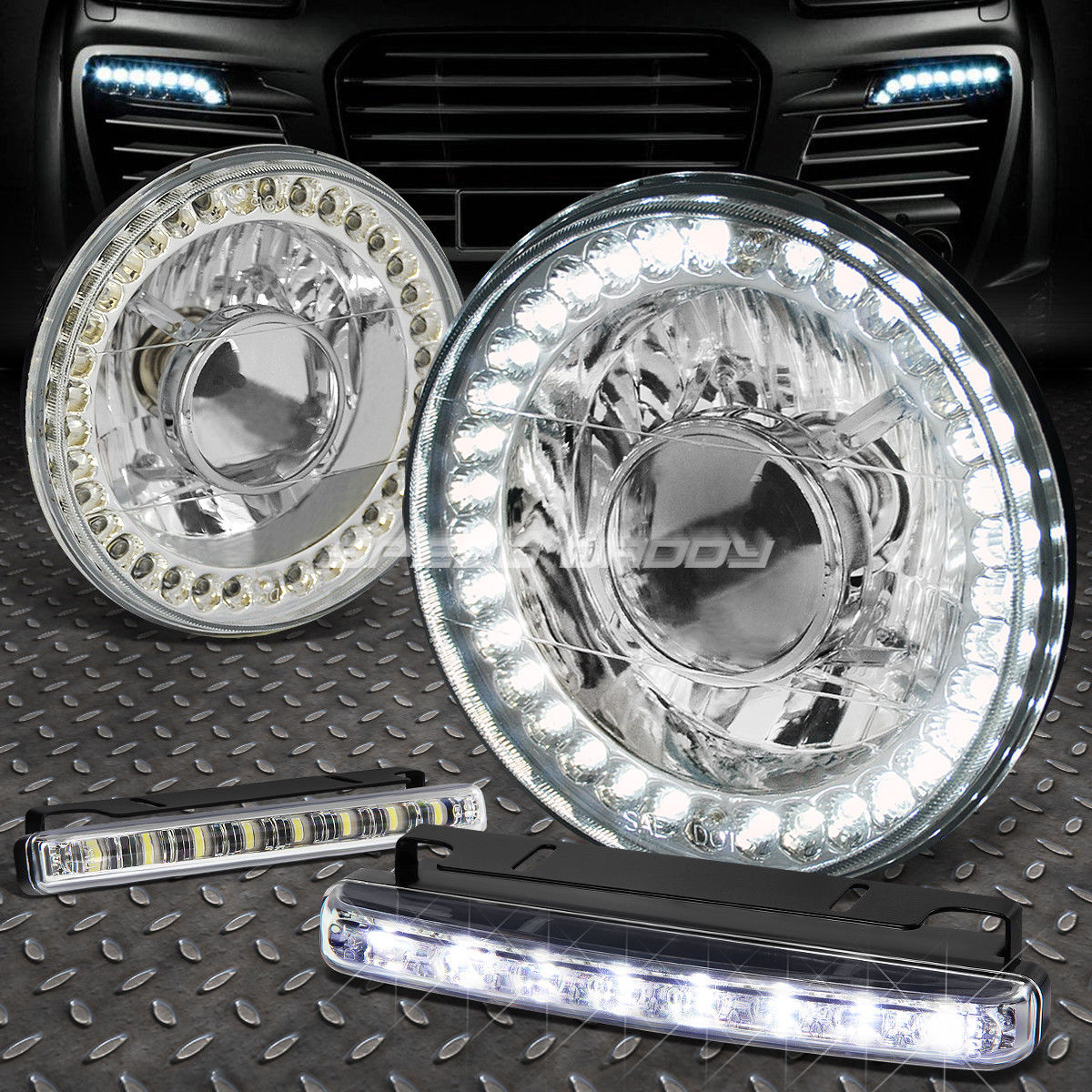 USフォグライト 7x7 ROUND CHROME PROJECTOR LED HEADLIGHT+8 LED GRILL FOG LIGHT FOR BRONCO/DART 7x7 ROUND CHROME PROJECTOR LEDヘッドライト+ブロンコ/ダーツ用8 LEDグリルフォグライト