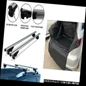 キャリア アルミエアロシルバークロスルーフバーセットペア+ナイロンブーツトランクマットライナーHD + Aluminium Aero Silver Cross Roof Bar Set Pair + Nylon Boot Trunk Mat Liner HD+