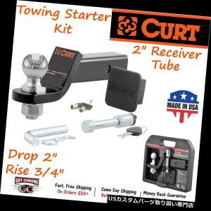 """ヒッチメンバー 45534 Curt Towingスターターキットにはボールマウント/ 2 """"トレーラーボール/ヒッチロックが含まれています 45534 Curt Towing Starter Kit Includes Ball Mount/ 2"""" Trailer Ball/ Hitch Lock"""