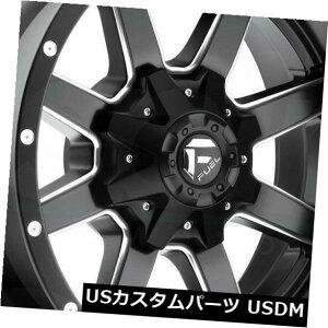 """海外輸入ホイール 4-新しい20 """"Fuel Maverick D610 Wheels 20x9 8x6.5 / 8x165.1 1ブラックミルドリム 4-New 20"""" Fuel Maverick D610 Wheels 20x9 8x6.5/8x165.1 1 Black Milled Rims"""