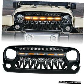 グリル ワット/ 07から18ジープラングラーJK用のライトを実行している黄色のLED Xpriteブラックベノムグリル Xprite Black Venom Grille w/ Amber LED Running Lights for 07-18 Jeep Wrangler JK