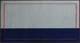 オフィスデザインマットver2(600×1100mm/フチあり)グレー・ダークブルー・レッド【受注生産:約8日/平日の日数】